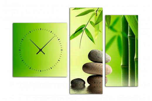 Модульная картина с часами Зеленый Бамбук