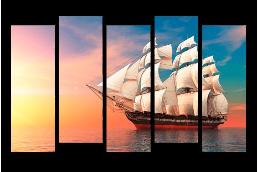 Модульная картина Парусник в открытом море
